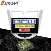 Eunavi 4G+32G Octa 8 core android 9.0 car dvd for Hyundai Solaris Verna Accent 2010 2018 multimedia car radio gps navi PX6