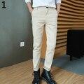 Мужская Мода Повседневная Карманы Сплошной Цвет Slim Fit Брюки Длинные Брюки Чинос