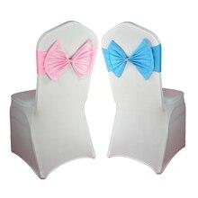 Лидер продаж, 50 шт./партия, украшение для свадебной вечеринки, эластичный спандекс, розовый/красный/синий/фиолетовый бантик, стул, пояс, гостиничный Банкетный стул, декор сзади