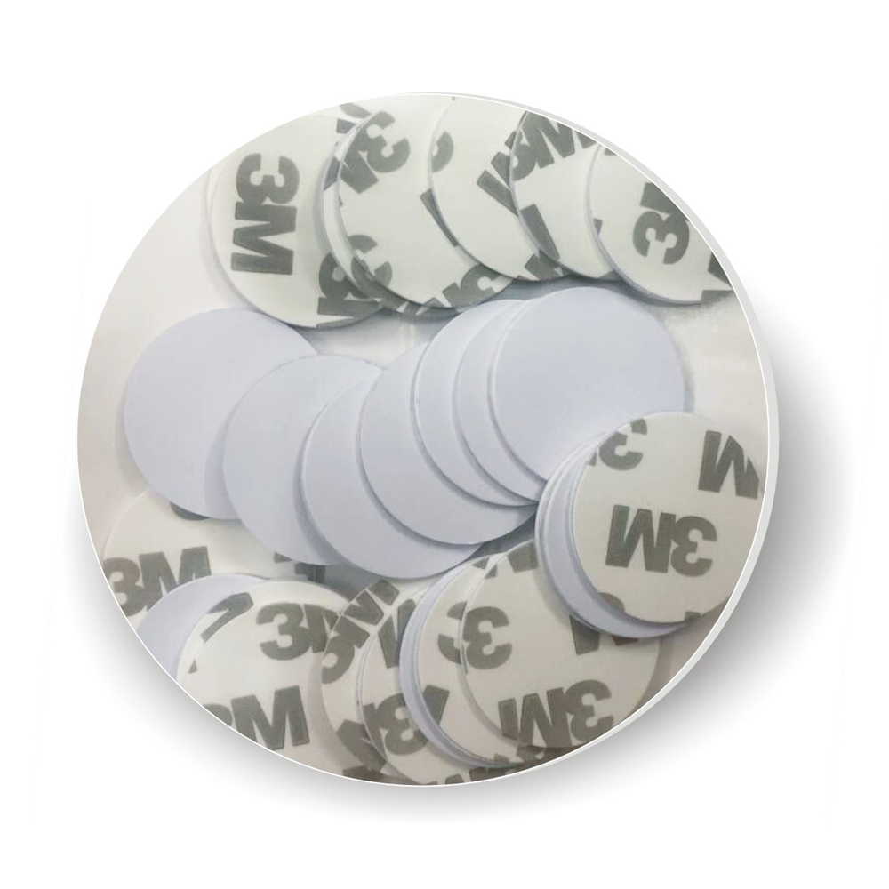 100pcs Free Shipping 3M Stickers Coin Type 125KHZ RFID Coil Card/ EM RFID Chips  /size:25mm