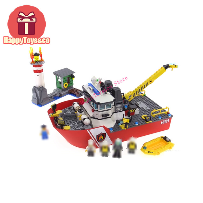 Legoing City series 60109 461Pcs Sea fire boat toys For Children Gift 02057 Building Blocks Set Compatible Education Policemen