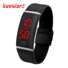 Womens Watch Drop Shipping Gift Relogio Feminino Red LED Sports Running Date Rubber Bracelet Digital Wrist June22