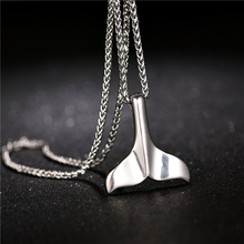 Boho Whale Tail Necklace Pendant for Women Stainless Steel Dolphin Fishtail Mermaid Necklaces Jewelry