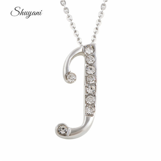 2eb8cabd357688 New Trendy Letter Necklace Silver Plated Initial Crystal J Pendant Handmade  Accessories