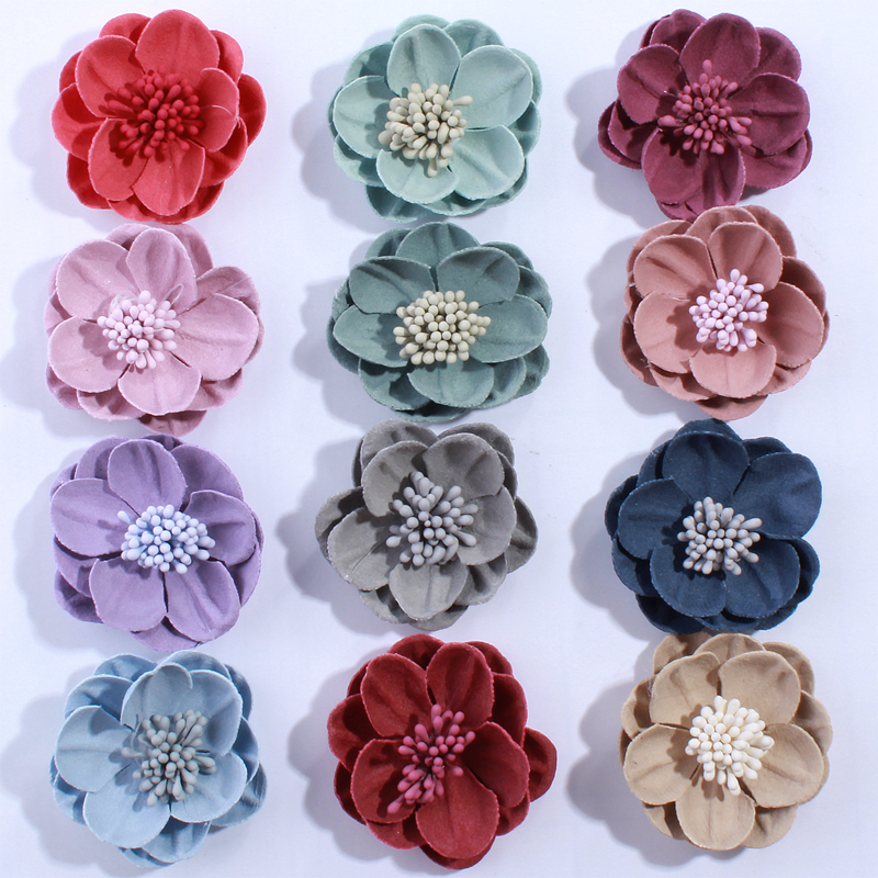 10PCS 5CM Fashion Solid Artificial Felt Flowers For Hair Accessories With Stamen Hairband Apparel Accessories U Pick Colors