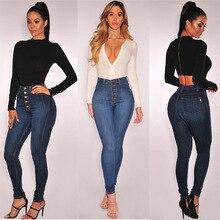 2019 Women's Skinny Denim Pencil Pants High Waist Slim Button Buckle Pants Stretch Jeans Women's Jeans skinny button jeans