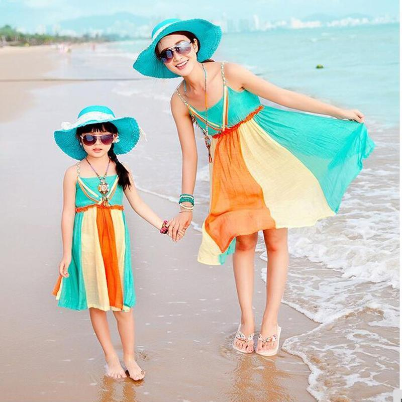 Mom Daughter Chiffon Attire New Household Matching Outfits Ladies Lady Seashore Gown