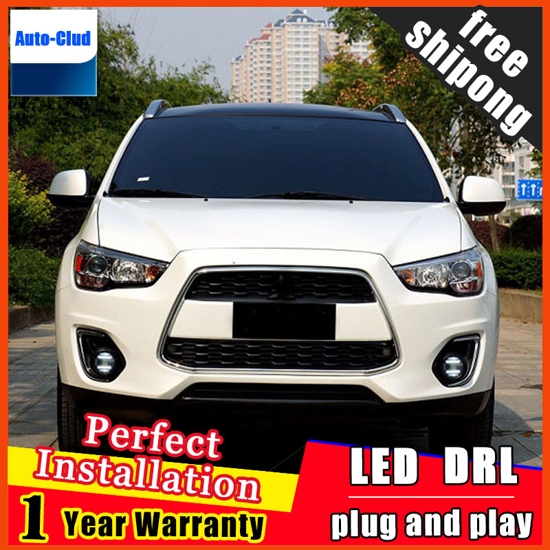 Car-styling LED fog light for Mitsubishi ASX 2011-2012 LED Fog lamp with lens and LED daytime running ligh for car 2 function car fog lights lamp for mitsubishi triton 2 door 2009 on clear lens pair set wiring kit fog light set free shipping