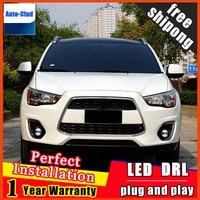 Car styling LED fog light for Mitsubishi ASX 2011 2012 LED Fog lamp with lens and LED daytime running ligh for car 2 function