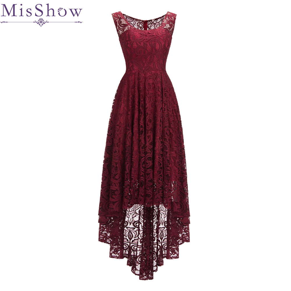 2019 Short Front Long Back Lace   Cocktail     Dresses   Cut Out Lace Party   Dress   Gown Burgundy Homecoming   Dress   Vestidos De Coctel
