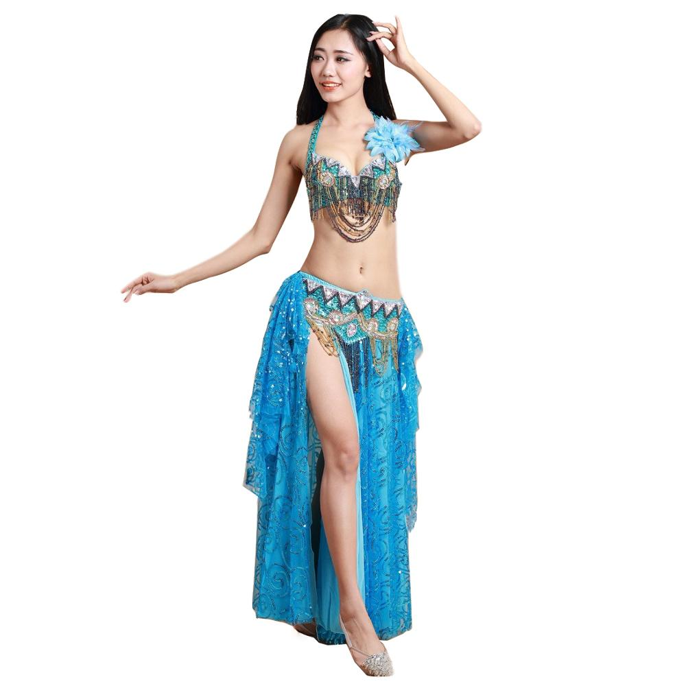 2019 Women Dance Clothes Oriental Style Outfit Beaded Belly Dance Costume Set Bra Belt Skirt Sequins Long Skirts
