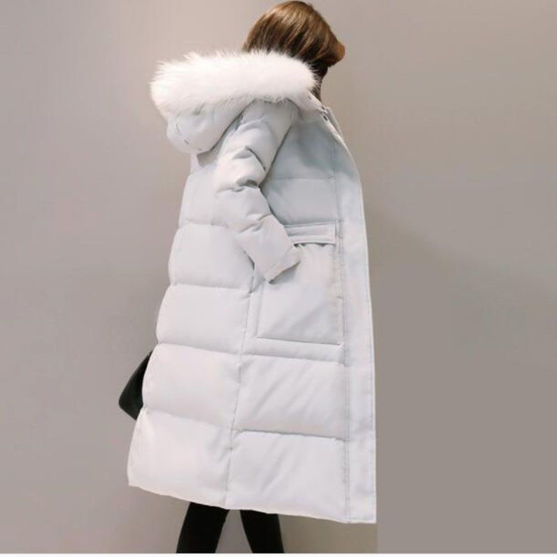 2018 New Arrival Women Winter   Coat   Fur Collar White Duck   Down   Jackets Solid Hooded Long Outerwear Female Warm   Down     Coat