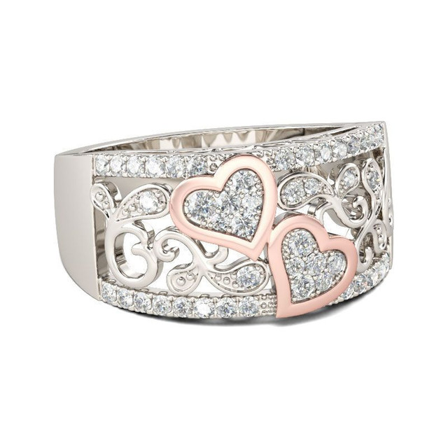Fashion Jewelry Design Wedding Band Ring for Women Rose Gold Color CZ Stone 2