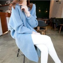 new fund of 2019 autumn winters is han edition with big yards in the female cardigan sweater coat long bat sleeve knit(China)