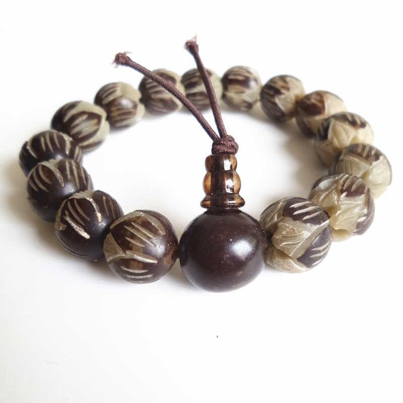 BRO663 Buddhist Amulet Bracelets Natural White Bodhi Seeds Carved Padma Lotus Prayer Mala 11-12mm