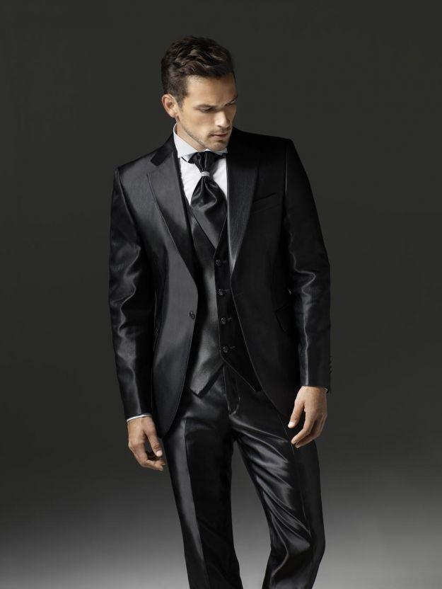 Fashion Style One Button Shiny Black Groom Tuxedos Groomsmen Men\'s ...