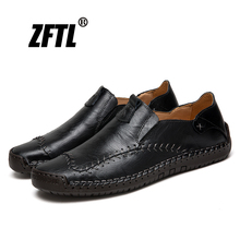 ZFTL New Men Loafers Genuine Leather Spring/Autumn Man Boat Shoes Big Size 38-48 Casual Slip-on male Leisure shoes Handmade  016 цена