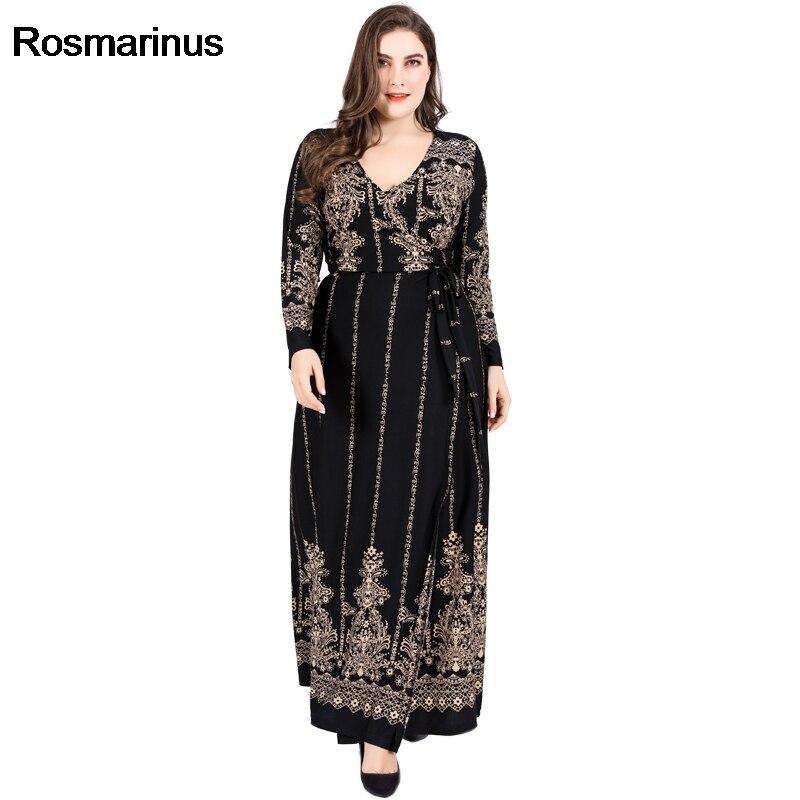 Robe abaya musulmane grande taille D'or Imprimé Floral Vintage Wrap Robe 2019 D'hiver Femmes Col V à manches longues Maxi Longue robe de fête