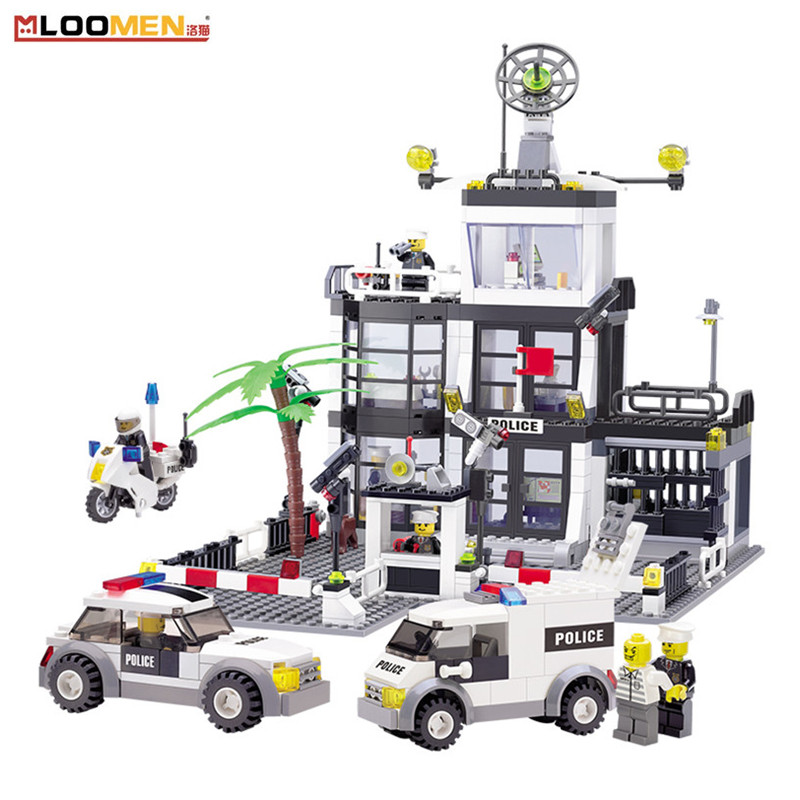MLOOMEN City Police Series Car Construction Model Blocks DIY Educational Building Block Toys for Kids Birthday Gifts 631Pcs/set police station swat hotel police doll military series 3d model building blocks construction eductional bricks building block set