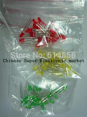 5Colors*20PCS=100PCS 5mm LED Diode Light Assorted Kit Green Blue White Yellow Red COMPONENT DIY kit(China)