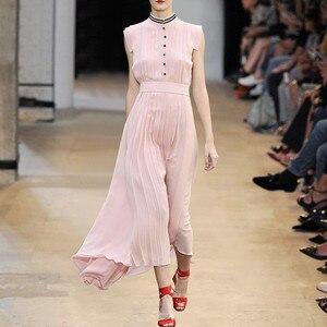 Розовое Шифоновое Платье со звездами, милое Плиссированное однобортное платье без рукавов, вечерние платья, лето 2019