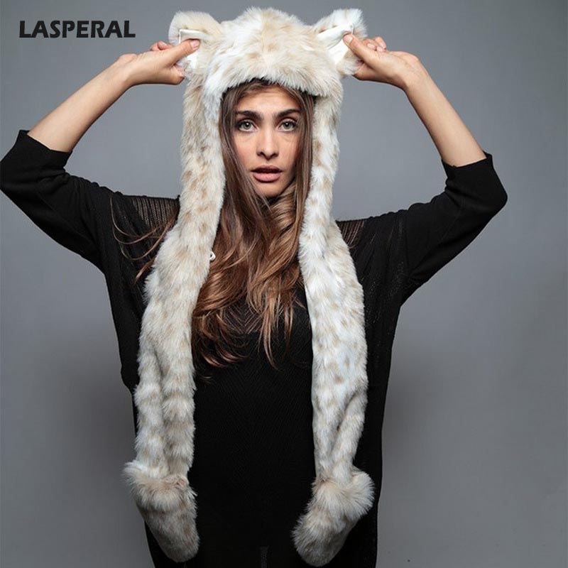 LASPERAL Brand Faux Fur Scarf Hat Glove Sets New Year Autumn Winter Warm Women Men Animal Cute Puppy Ears Shawl Hat Lover's Sets