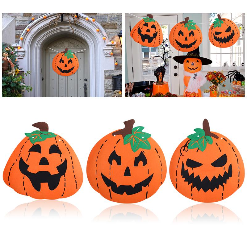 bestoyard 3pcs halloween pumpkin decoration felt huge banner with 6m string and threading stick for happy