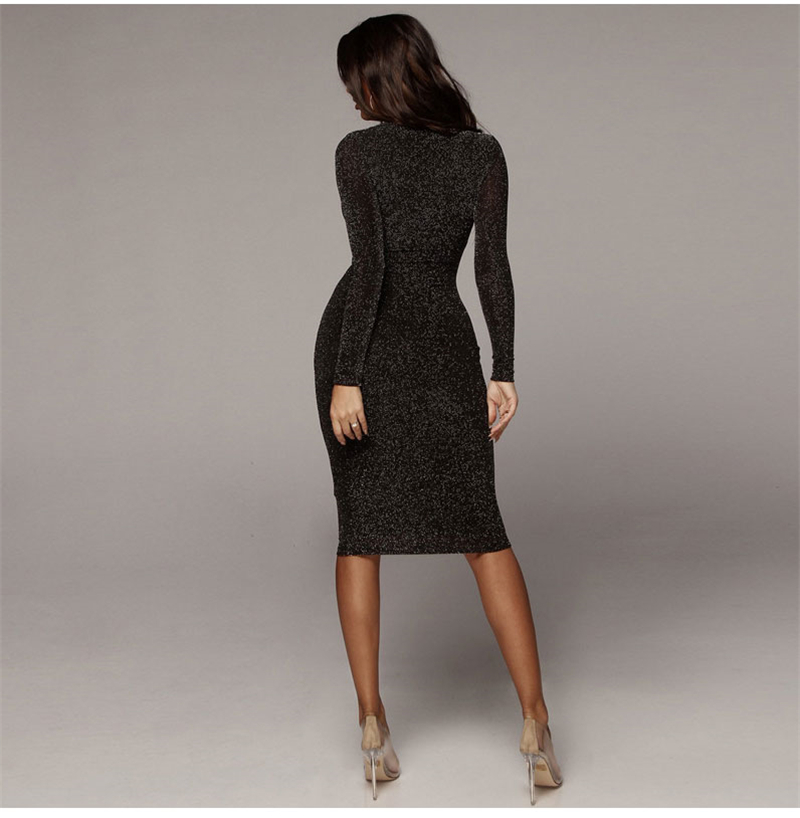 Shining Long Sleeve Midi Dress 5