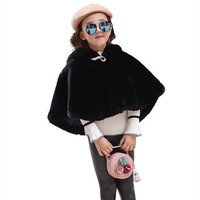 Fashion Children Girls Faux Fur Shawl Hooded Baby Girls Solid White Faux Fur Cape Wrap Shrug Shawl Winter Girls Jackets and Coat