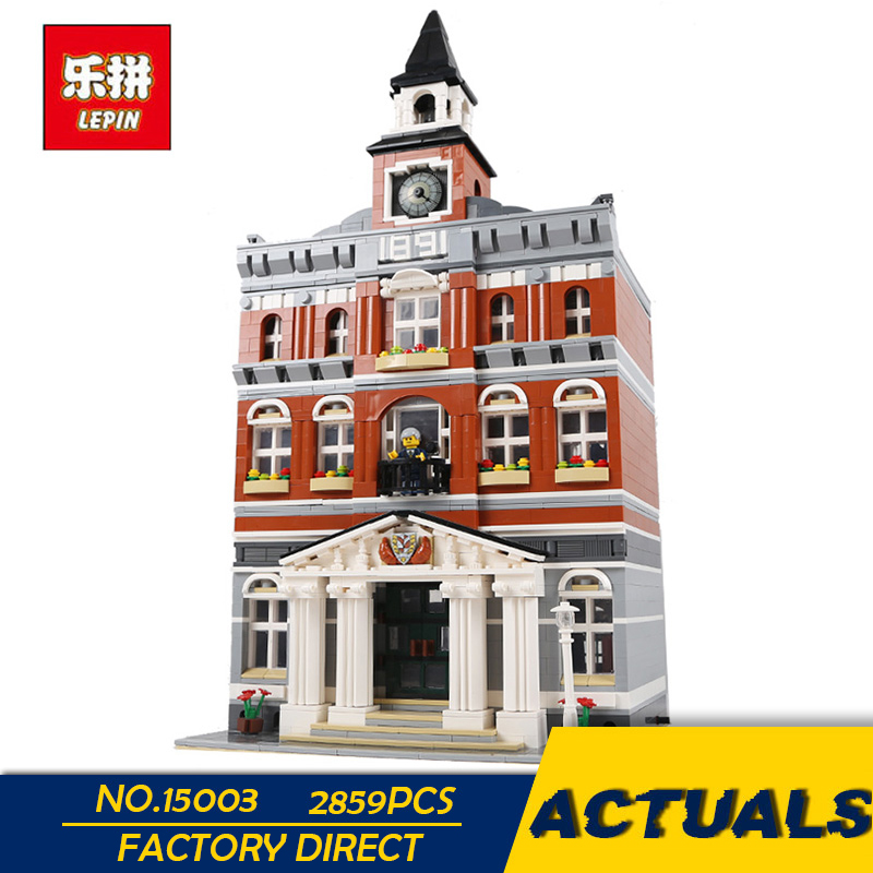LEPIN 15003 2859PCS City Town Hall Sets Model Building Kits Set Blocks Children Toys Compatible With 10224 as Gift Education