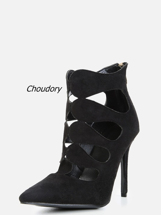 2017 New Fashion Black Suede Cut-out Ankle Boots Sexy Pointy Toe Stiletto Heel Booties Classic Back Zip High Heels Hot Sale classic fashion women s club banquet wedding shoes sexy suede zipper 17 cm in stiletto heels