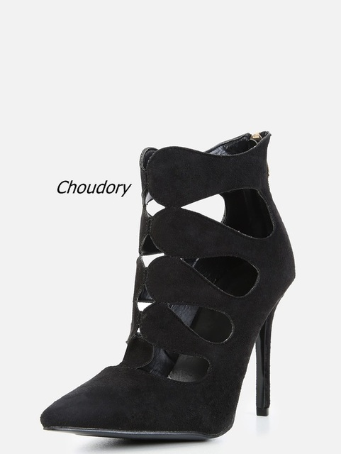 dc5ee542db26 2017 New Fashion Black Suede Cut-out Ankle Boots Sexy Pointy Toe Stiletto  Heel Booties Classic Back Zip High Heels Hot Sale