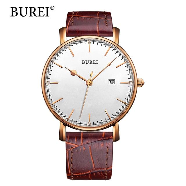 BUREI Women Watch Top Fashion Brand Female Clock Sapphire Watches Genuine Leather Date Waterproof Quartz Wristwatches Hot Sale