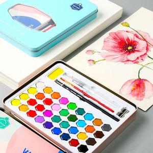 Image 2 - צבע בצבעי מים סט 36 צבע בצבעי מים צבע תלמיד מצויר ביד נייד ציור סט ברזל תיבת מים צבע אמנות ספקי