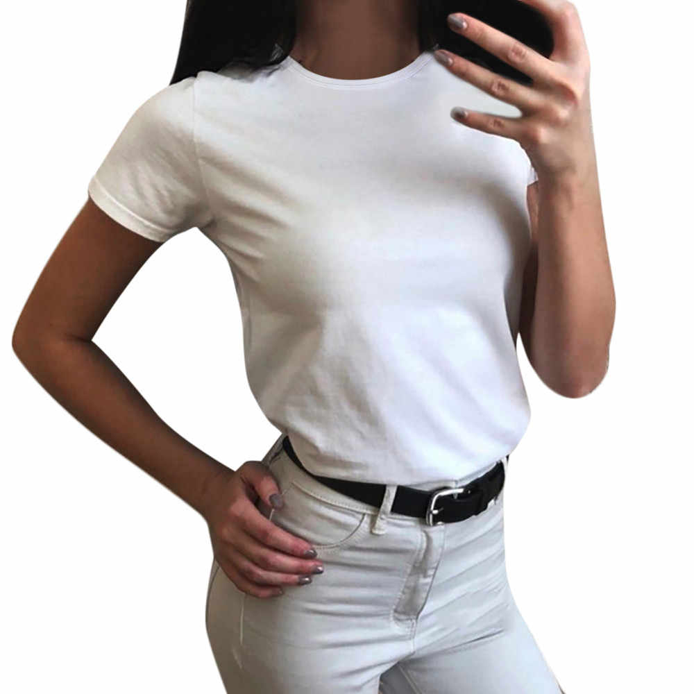 Polo Shirt For Women  O-Neck Pure Color Short Sleeve  Casual Shirt Tops Poles For Women