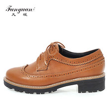 Fanyuan Classic Style Hollow Out Flowers Women Oxford Brogues Shoes Black Brown Dress Shoes Woman Flats Oxfords Lace up Flats