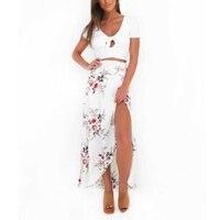 Skirts Womens Floral Sexy Split Up Maxi Half Skirt New Vintage Beach Long Boho Skirt P2