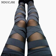Bandage Leggings Charmant Leggins Slanke Vrouwen Punk Legins Dame 2019 Sexy Splicing Broek Stretch Zwarte Broek Patchwork(China)