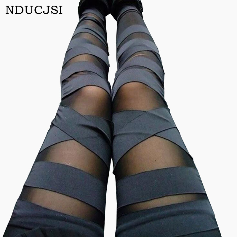 Bandage   Leggings   Charming Leggins Slim Women Punk Legins Lady 2019 Sexy Splicing Pants Stretch Black Trousers Patchwork