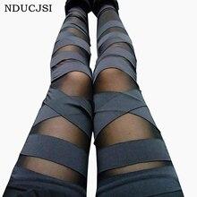 Leggings de vendaje encantadores Leggins delgados mujeres Punk Leggins señora 2019 Sexy empalme pantalones estiramiento negro pantalones Patchwork