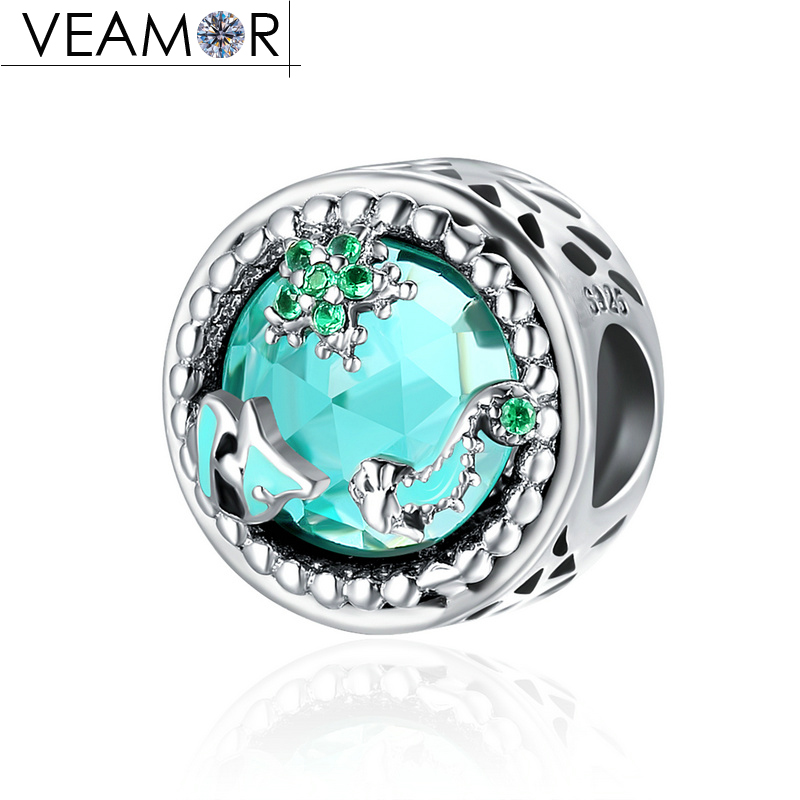 VEAMOR Genuine 100% 925 Sterling Silver Crystal Mystery Ocean Radiant Beads Fit Pandora Charms Bracelets DIY Jewelry Making