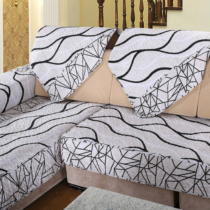 1pcs sofa cover black and white striped cover for sofa for Black sectional sofa covers