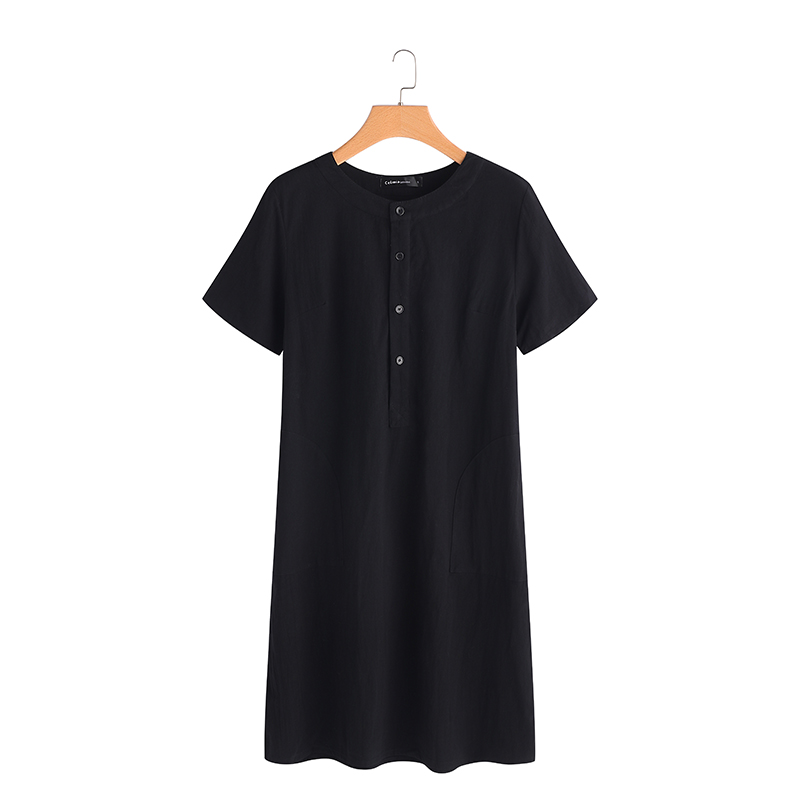 Summer Linen Dress 19 Celmia Women Tunic Top Short Sleeve Shirt Button Female Vintage Casual Sundress Sarafans Vestidos S-5XL 19