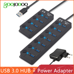 Hub USB 3.0 de Alta Velocidade 4/7 Port USB 3.0 Hub Divisor Hub On/Off Interruptor com a UE/ power Adapter EUA para PC Portátil MacBook