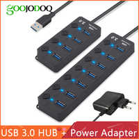 Hub USB 3.0 haut débit 4/7 ports USB 3.0 répartiteur de moyeu interrupteur marche/arrêt avec adaptateur d'alimentation EU/US pour ordinateur portable MacBook