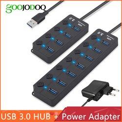USB Hub 3.0 عالية السرعة 4/7 ميناء USB 3.0 Hub الفاصل على/قبالة التبديل مع الاتحاد الأوروبي/ قوة الولايات المتحدة محول للحاسوب النقال محمول PC