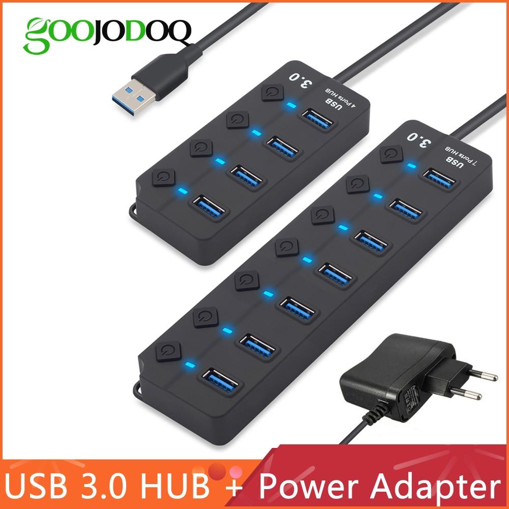 USB Hub 3,0 High Speed 4/7 Port USB 3.0 Hub Splitter Auf/Off Schalter mit EU/UNS power Adapter für MacBook Laptop PC