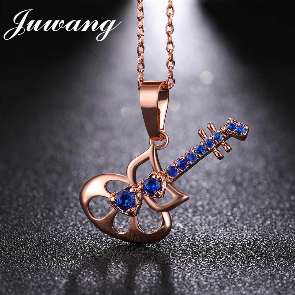 JUWANG золотой цвет синий в форме гитары кулон ожерелье для женщин Элегантный рок полный Блестящий Кристалл, кубический циркон заявление ожерелье s ювелирные изделия