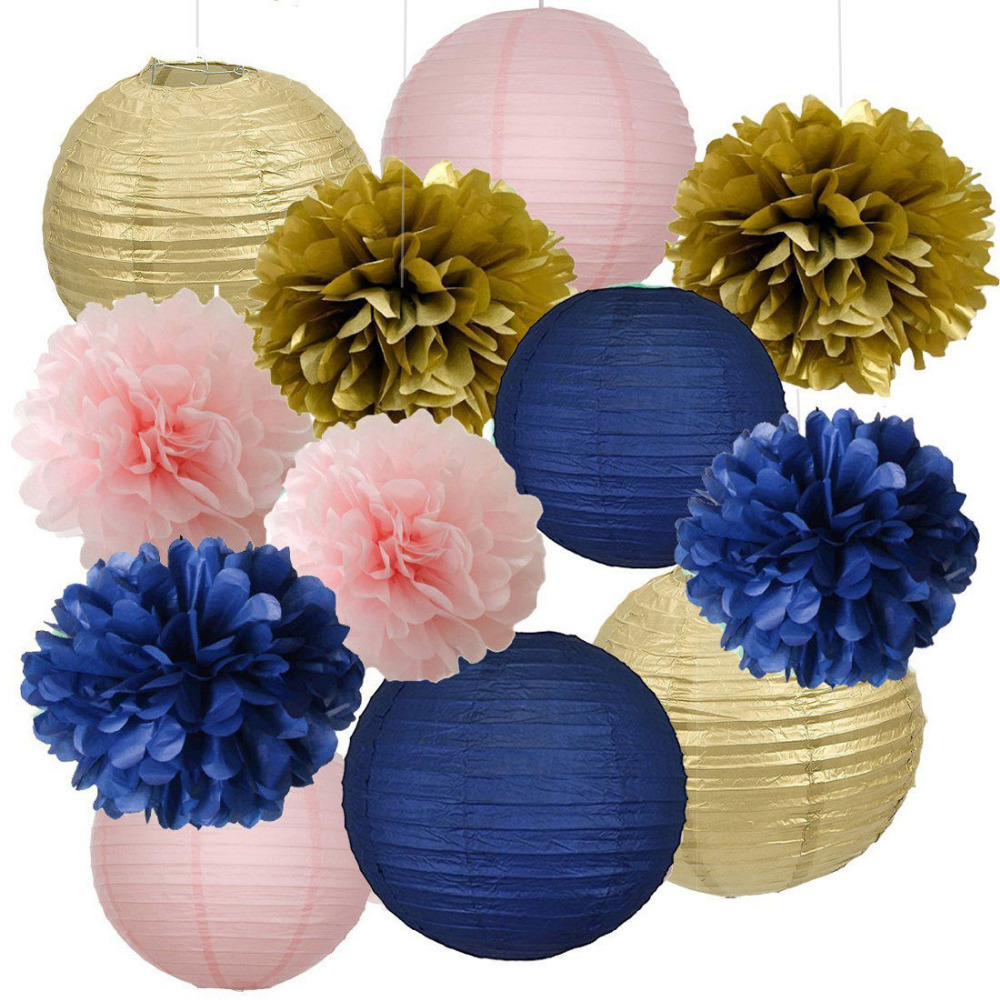 12pcs Mixed Navy Blue Pink Gold Party Tissue Pom Poms
