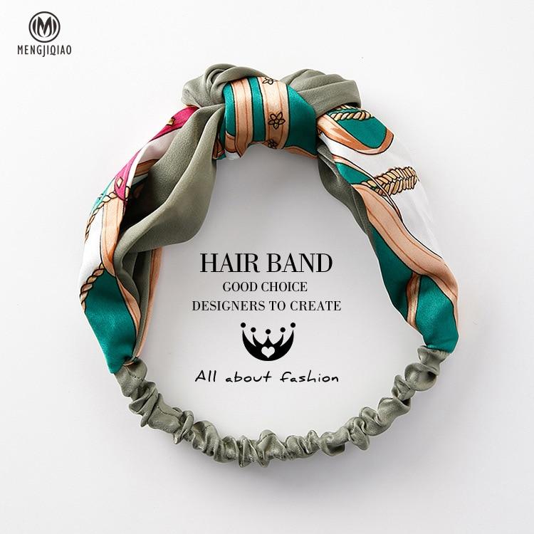 MENGJIQIAO Women Hair Accessories Fashion Headband Fabric Cross Knotted Bow Chiffon Floral Hair Band Korea Headdress ladies Hoop(China)
